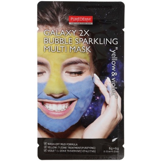 Purederm Кислородная маска для лица Multi Mask Yellow & Violet 2*6г